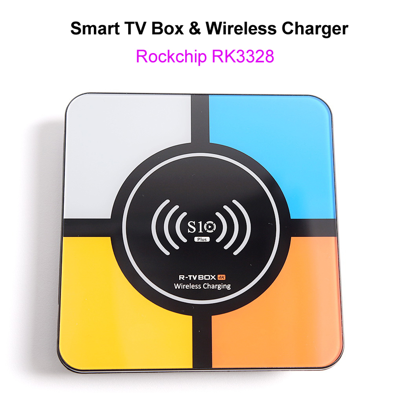 S10 Plus Android 8.1 Smart TV Box RK3328 4GB 32GB 2.4GHz Wifi 100M LAN 4K H.265 USB3.0 10w Qi Wireless Charger for iPhone Phone qi wireless universal charger mobile smart night light 10w