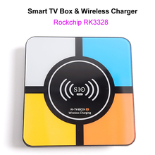 S10 Plus Android 8.1 Smart TV Box RK3328 4GB 32GB 2.4GHz Wifi 100M LAN 4K H.265 USB3.0 10w Qi Wireless Charger for iPhone Phone