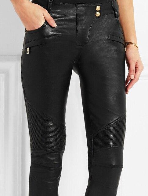 29e7fa9a1d ladies black Stretch-leather skinny pants women fashion moto stretch-cotton  biker jeans