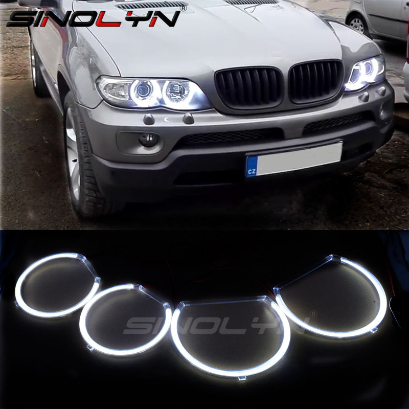 For Bmw E53 X5 LED COB Angel Eyes 5 series 1999 2000 2001 2002 2003 2004 HID Style LED Lights Halo Rings Retrofit diy Kit White 18pcs canbus error free led foot footwell interior lights package kits for bmw x5 e53 m 2000 2001 2002 2003 2004 2005 2006