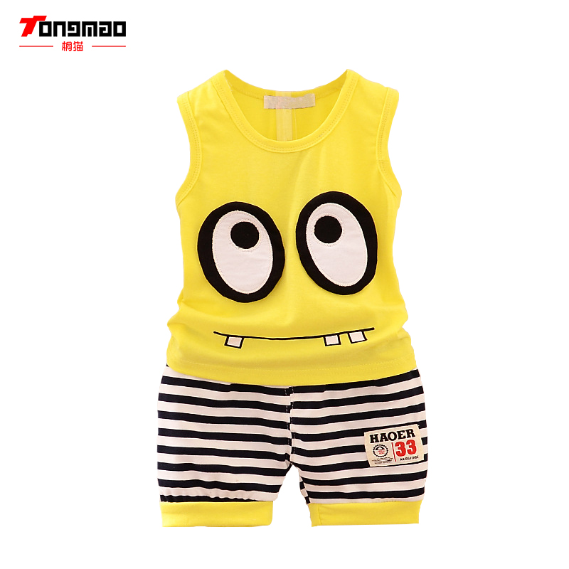 TONGMAO Hot New 2017 summer boys letter print children clothing set baby clothes sleeveless T-shirt pant kids sport suit