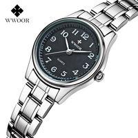 Top Brand WWOOR Women Watches Stainless Steel Band Analog Display Quartz Wrist Watch Ladies Luxury Couple