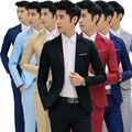 Moda Custom made Jaqueta de casamento ternos do noivo Vestido Formal Conjunto Terno Dos Homens dos homens casual Coreano Slim Fit Vestido (revestimento)