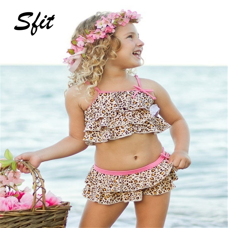 Sfit Swimsuit Child Bikini Bathing-Costume Two-Piece Beach-Panther Girl Baby Water-Sports