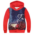 2016 New Children's long sleeve sweater Spider-Man Hoodies Sweatshirts Boys Terry Cotton Topwear Kids Outerwear Kids Clothing