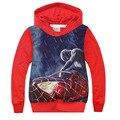 Suéter de manga larga de 2016 Nuevos Niños Spider-Man camisetas de los Hoodies Niños Terry Algodón Camisetas Y Tops Niños Prendas de Abrigo Ropa de Niños
