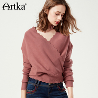 Artka 2017 Autumn Winter Overlapping V Neck Off Shoulder Tight Waist Elegant Short Pullover Sweater