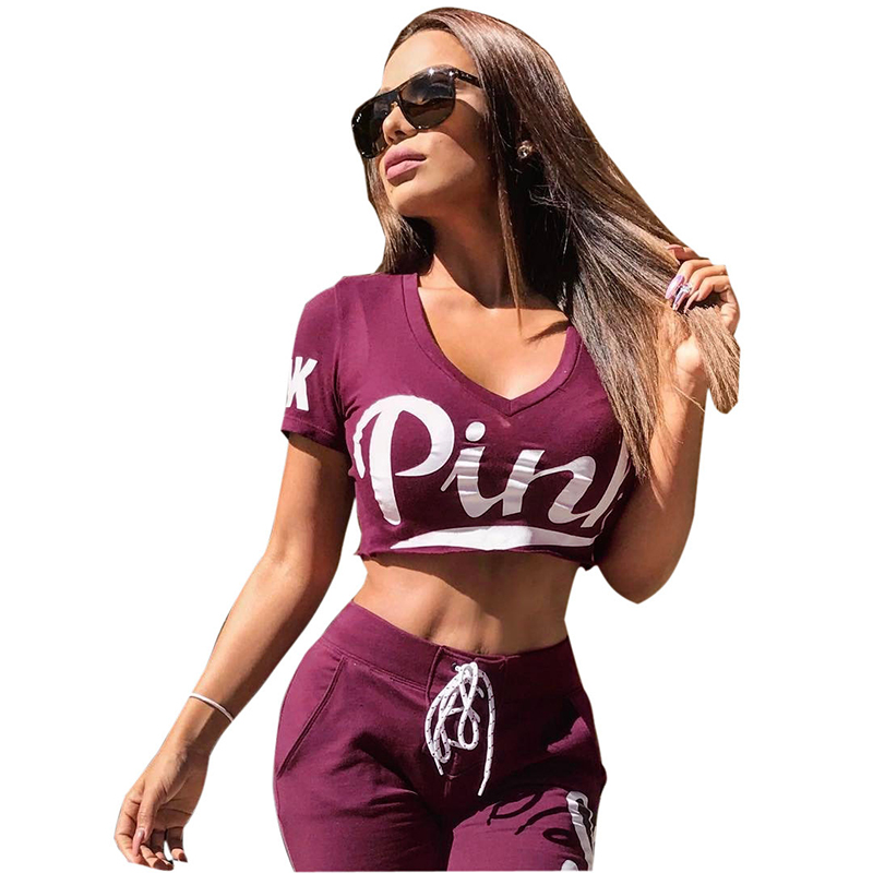 2019 2 Pieces Set Women Pink Letters Print V Neck Short Sleeve Crop Top And Long Trousers Femme Pants Outfits Women Tracksuit Price $28.98