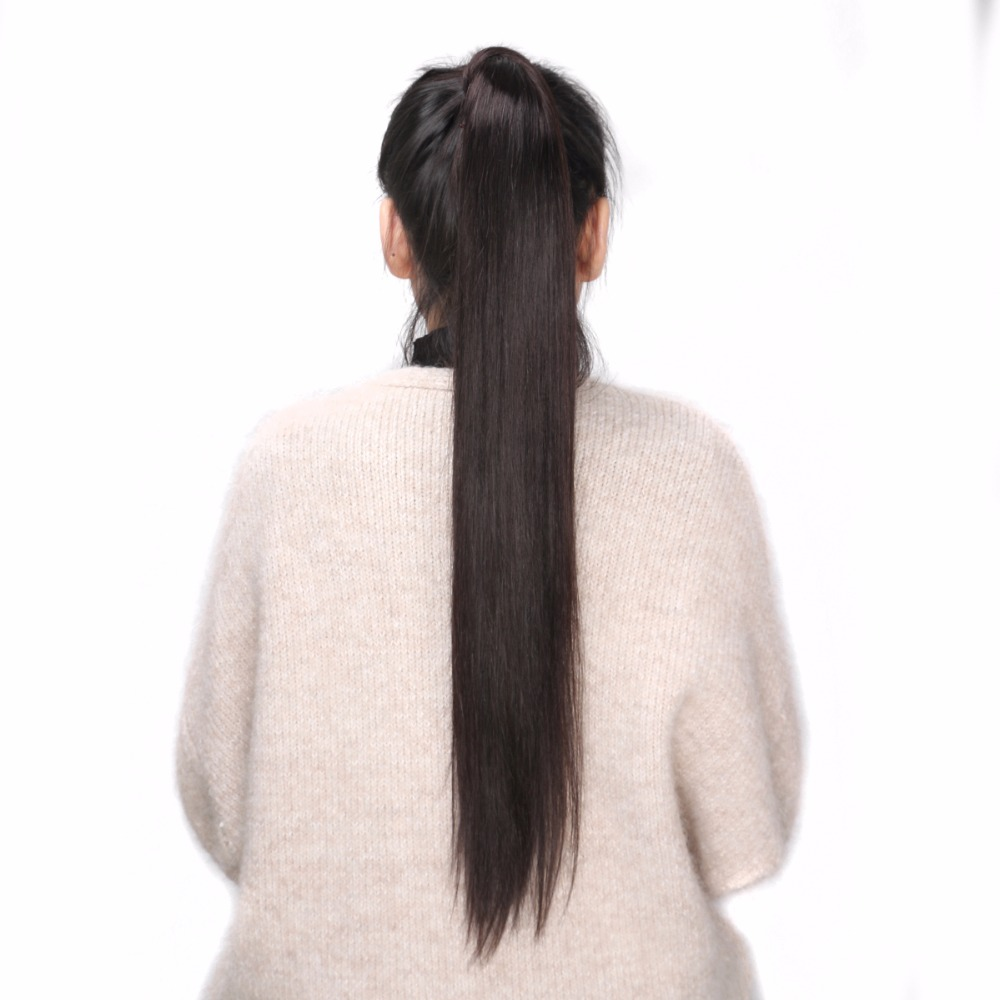 BHF 100% Human Hair Ponytail Brazilian Remy Ponytail Wrap Around Horsetail wig 60g 100g 120g Hairpieces Natural Straight Tails soccer-specific stadium