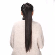 BHF 100% Human Hair Ponytail Brazilian Remy Ponytail Wrap Around Horsetail wig 60g 100g 120g Hairpieces Natural Straight Tails(China)