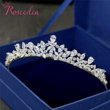 Full AAA CZ Tiara Princess Pageant Crown Wedding Hair Jewelry Women Night Party Bridal Hair Accessories RE3456 недорого