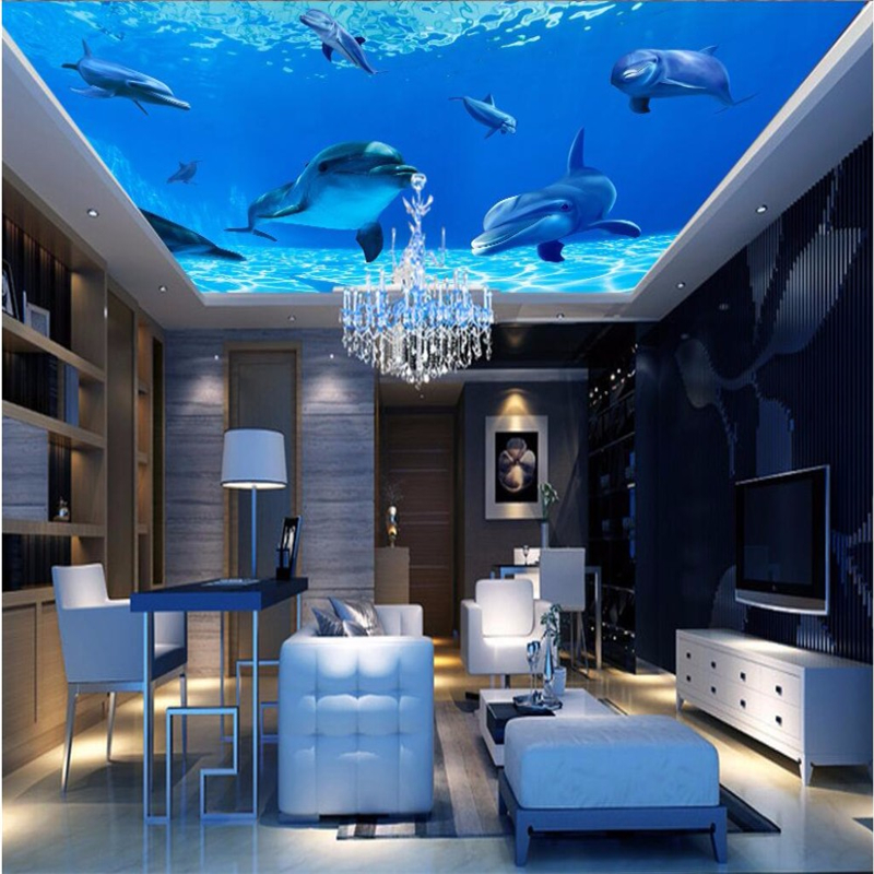 Us 885 41 Offbeibehang Photo Wallpaper 3d Ocean Sea Water Dolphin Ceiling Wallpaper Backdrop Mural 3d Wall Paper Papel De Parede Wall Paper In