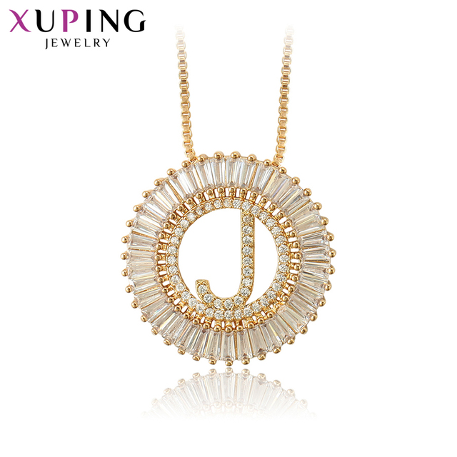 "Xuping תכשיטים ייחודי סגנון מכתב ""J"" עיצוב זהב-צבע מצופה תליון שרשרת לנשים מתנות S122.3-34444"