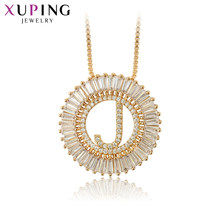 "Xuping Jewelry Unique Style Letter ""J"" Design Gold-color Plated Pendant Necklace for Women Gifts S122.3-34444(China)"
