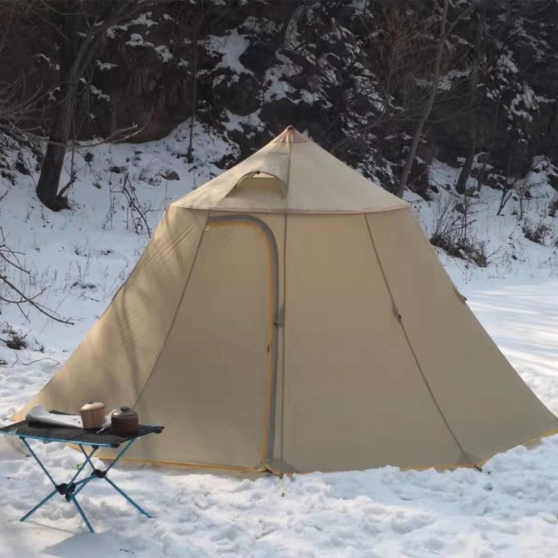 Große raum Camping Zelt 20D Silikon Ultraleicht Outdoor 6 Personen Pyramide Familie Zelt Wasserdicht Index 5000mm