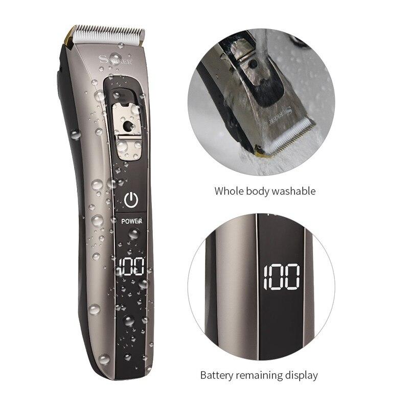 Tondeuse à cheveux en alliage de titane en céramique tondeuse USB Rechargeable rasoir électrique barbe rasoir Trimer avec affichage numérique LED