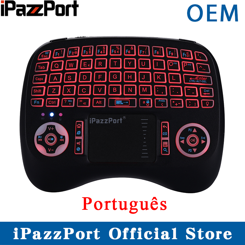 Ipazzport Air-Mouse Portuguese Raspberry Wireless-Keyboard Touchpad Backlit Android