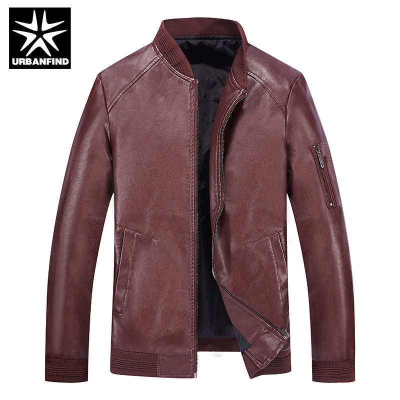 URBANFIND Autumn Spring Mens Clothing Leather Jacket Size M-4XL Brand Fashion Man Slim Fit Jacket Black Blue Red