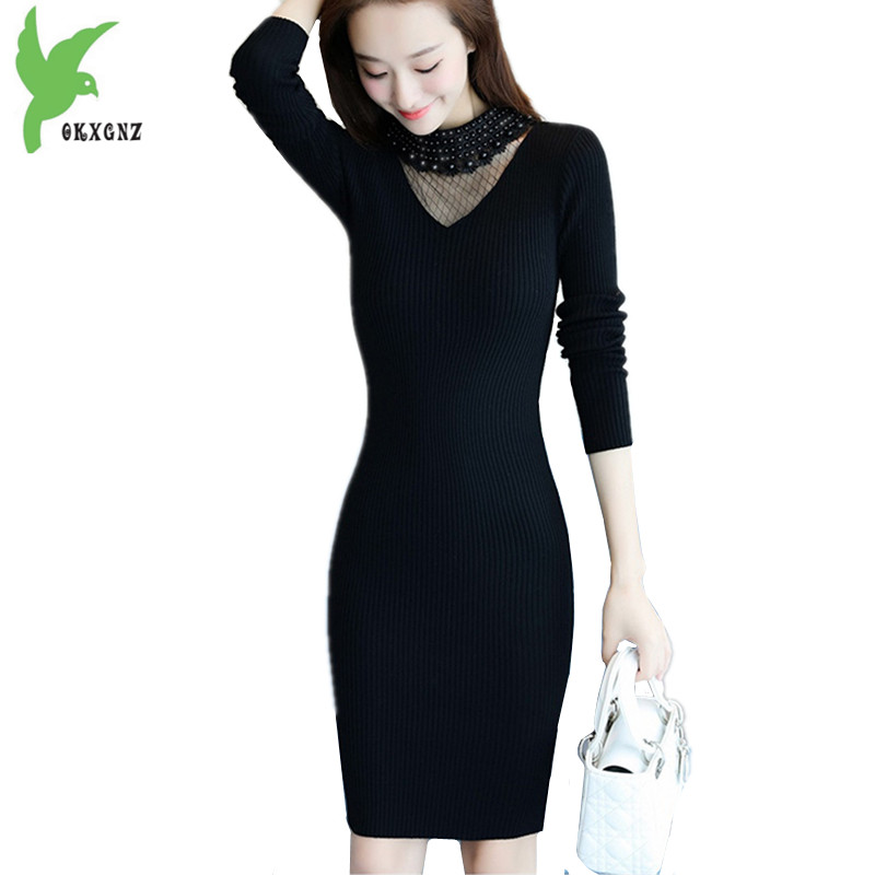 2018 Fashion Women Autumn Knit Sweater Bottoming Dress Neckline Beaded Gauze Package Hip Dress Knitted Pullovers Tops OKXGNZ1459 mulinsen men
