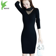 2018 Fashion Women Autumn Knit Sweater Bottoming Dress Neckline Beaded Gauze Package Hip Dress Knitted Pullovers