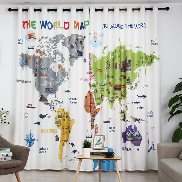 The World Map Cartoon Printed Blackout Fade Resistant Curtains For Kids Room  Window Living Room/Bedroomn