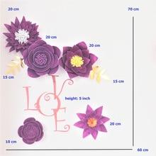 2019 Giant Glittered Foam Flowers Handmade Purple Large Rose Set For Nursery Wedding Birthday Backdrop Home Wall Decoration