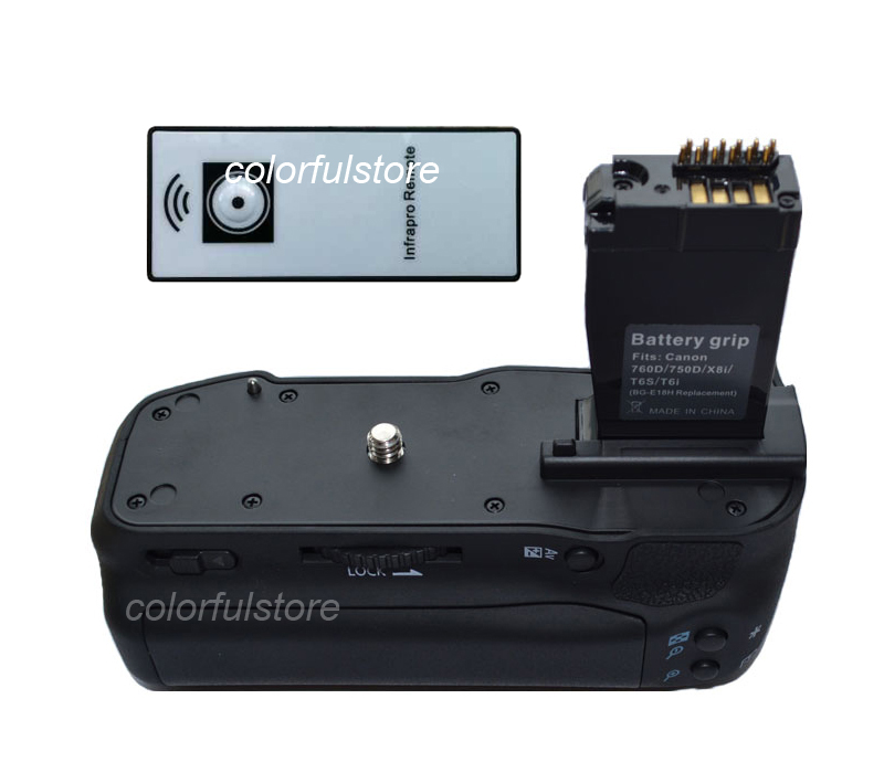 Battery Hand Grip Vertical Multi Power Shutter For Canon EOS 750D 760D Rebel T6i T6s Kiss X8i 8000D as BG-E18 BGE18 + IR Remote pro vertical battery grip holder for canon eos 760d 750d t6s t6i ix8 as bg e18