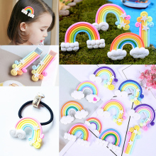 LNRRABC Mobile phone shell Hair Rope Clip Rainbow Jewelry accessories cartoon Accessories 4PCS/Set polymer clay DIY
