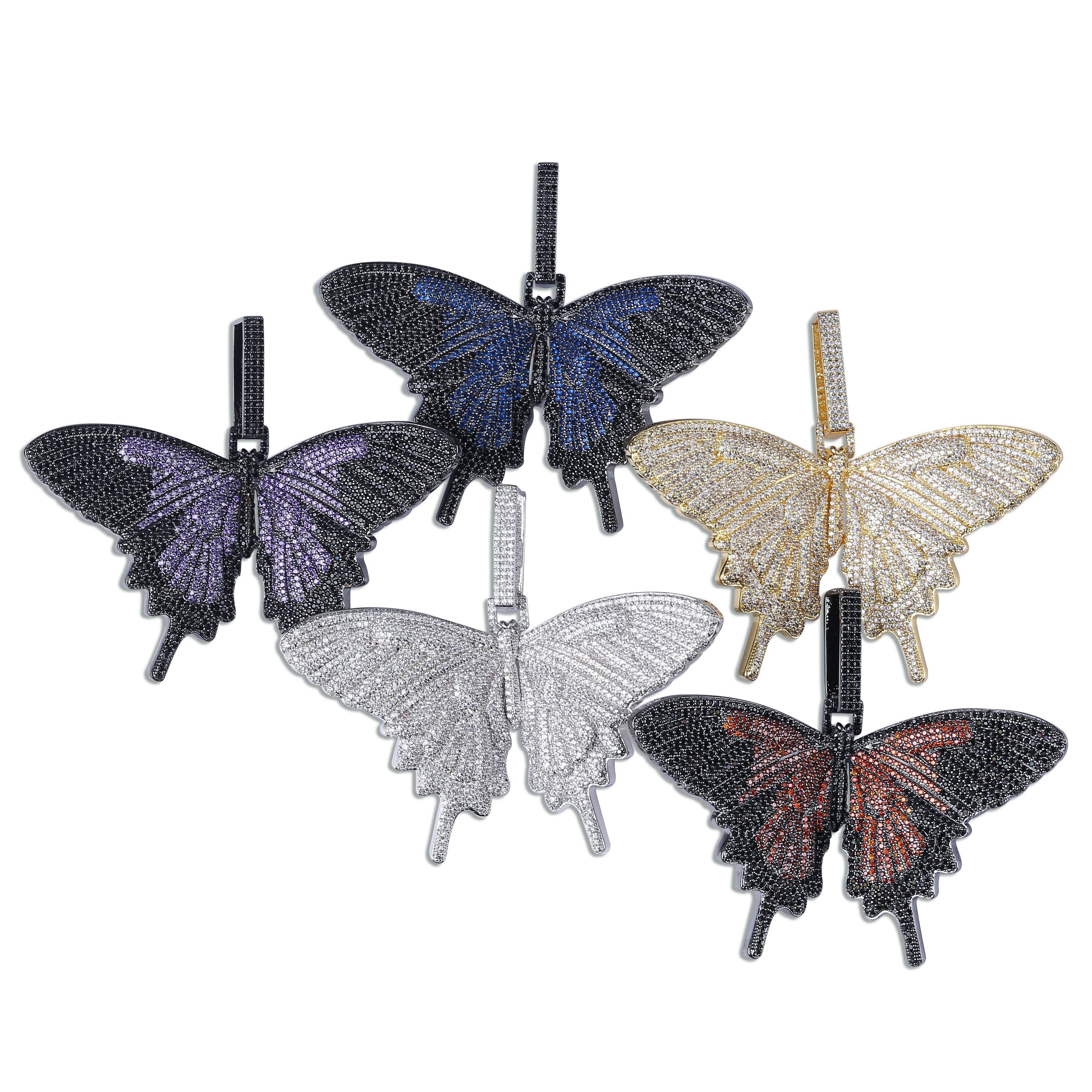 Nouveau collier pendentif ailes de papillon glacé personnalisé avec chaîne cubaine 12mm couleur or argent bijoux de chaîne de charme Hip Hop