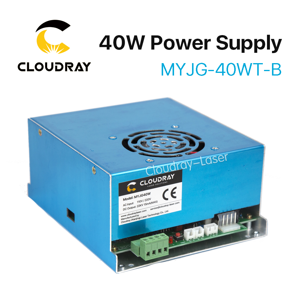 Cloudray CO2 Laser Power Supply 40W 110V/220V for Laser Tube Engraving Cutting Machine MYJG 40WT Model B cloudray 40w laser tube glass metal head 40w 700mm diameter 50mm for co2 laser engraving cutting machine