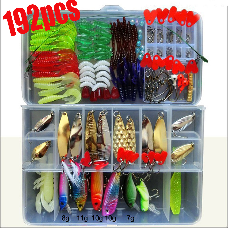 Toppory 192/21 PCS soft lure and hard bait fishing lure set with box high quality artificial baits kit fishing tackle 5pcs box mouse shape fishing lure bait soft fishing baits tackle box accessory tool metal spoon fishhook fishing artificial lure