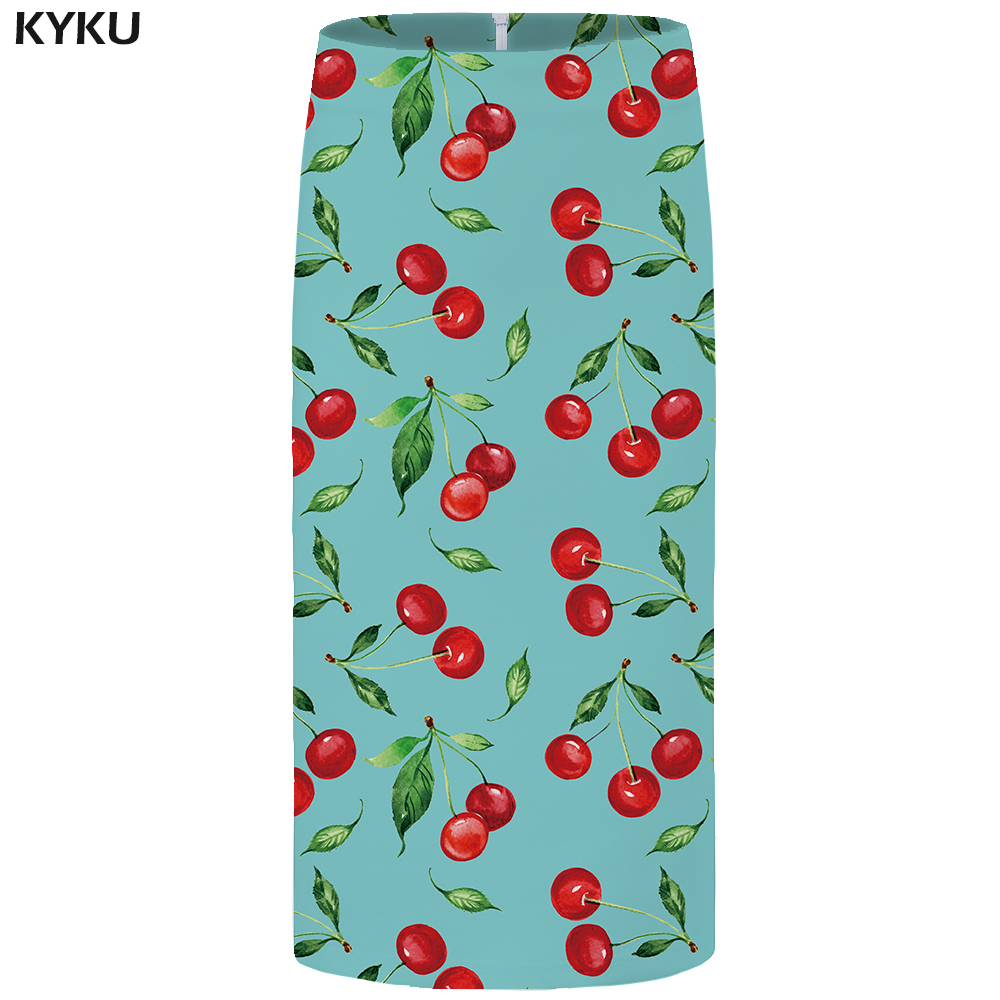 Kyku Brand Cherry Skirts Women Green Fruit Sundresses Pencil Knitted Leaf 3d Print Skirt Sexy Party Ladies Skirts Womens Casual