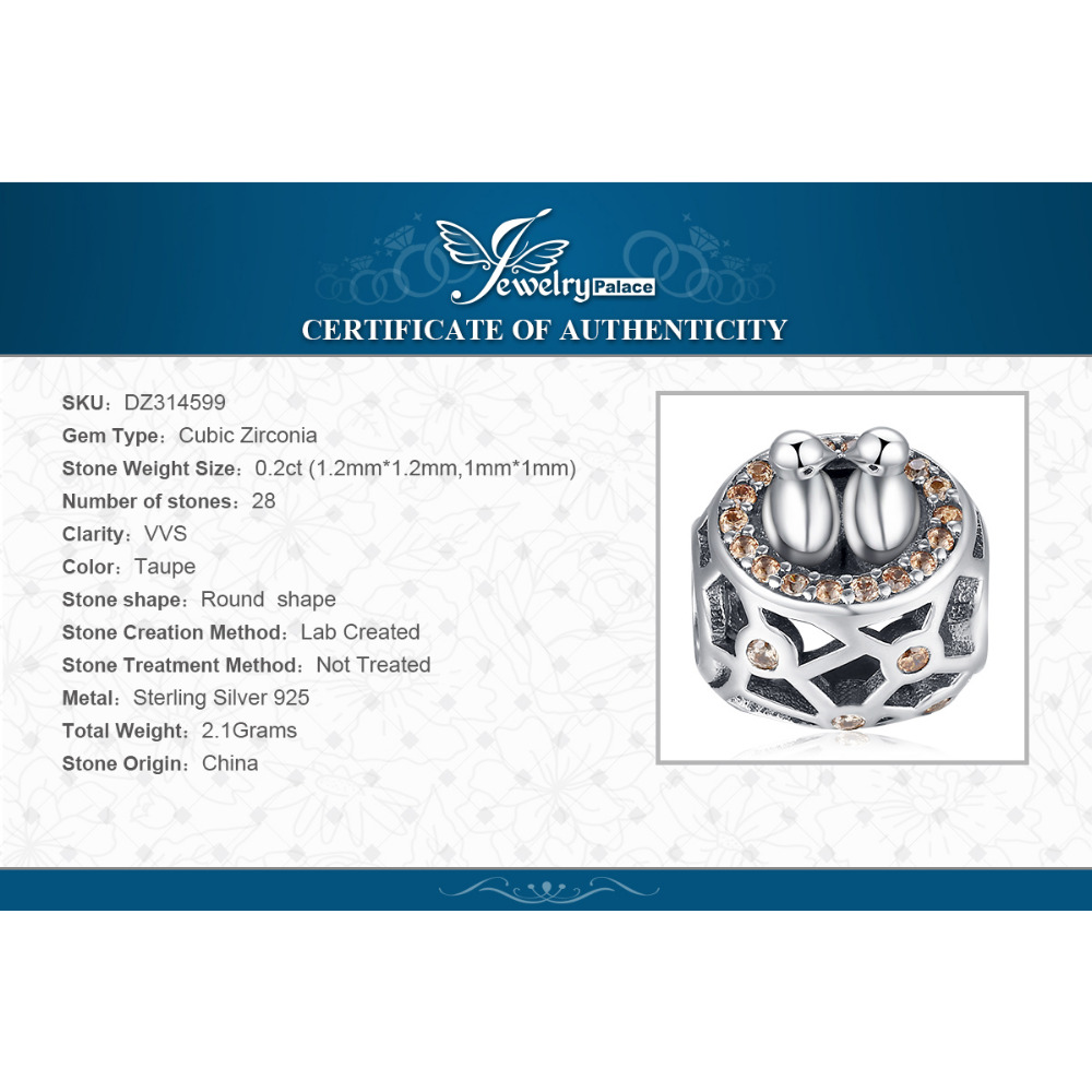 JewelryPalace Love Birds 925 Sterling Silver Beads Charms Silver 925 Original For Bracelet Silver 925 original Jewelry Making in Charms from Jewelry Accessories