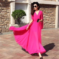 WBCTW Maxi Long Chiffon Dress 7XL Plus Size High Elastic Waist Woman Dress Sexy Deep V Neck Half Batwing Sleeve Beach Dress