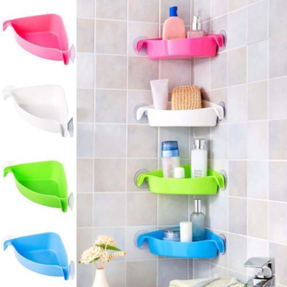 Home Bathroom Corner Shelf Suction Rack Organizer Cup ...