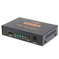 ALLOYSEED 1 To 4 EU UK Plug HDMI Video Splitter Metal Cased UHD 3D 4K 2K