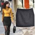 Alta calidad de moda faldas para mujer de invierno de Mini falda más el tamaño de falda negro gris S - XXXL