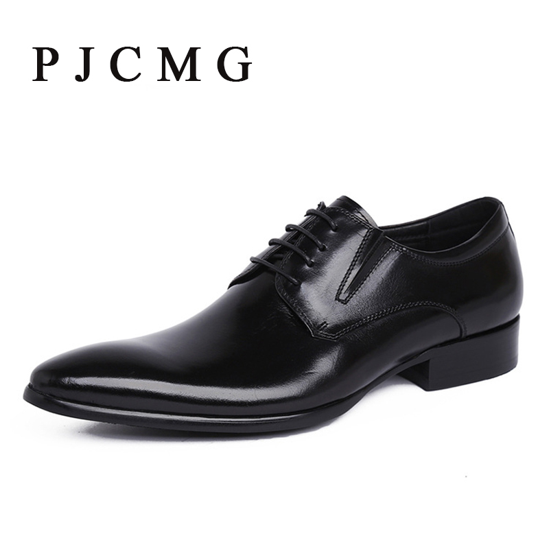 ФОТО PJCMG Brand mens dress genuine leather black/red lace-up Pointed Toe formal business office men flats Shoes Big Size 38-44