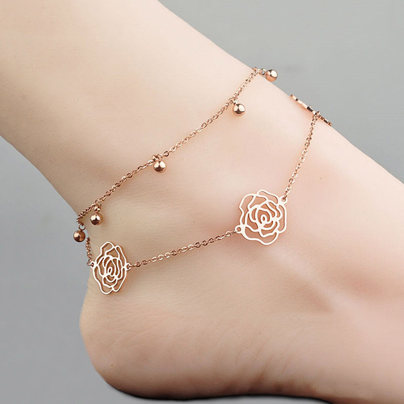 USTAR Stainless Steel Chain Rose Flower Anklets For Women Adjustable Foot Jewelry Bracelet Anklet Summer Sandals No fading
