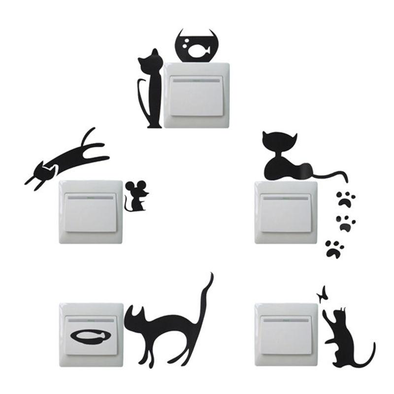 Sıcak Satış DIY Sevimli Kedi Fare Anahtarı Sticker Ev Duvar Dizüstü Cilt Vinil Sanat Çıkartması Çıkarılabilir için Dizüstü PED