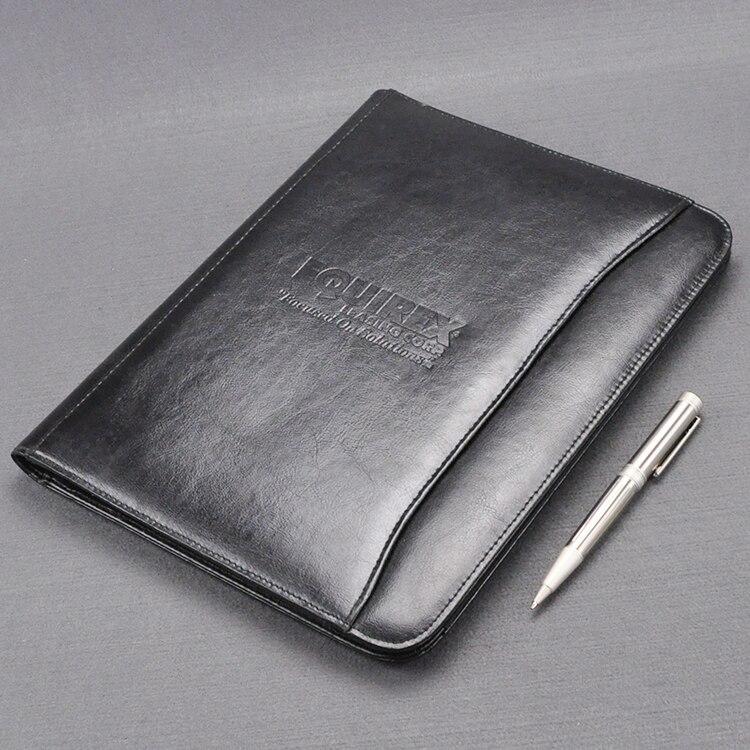 Sac de premier niveau en faux cuir A4 padfolio business manager pour dossier de documents avec bloc-notes pour ordinateur portable poche de billets 1254