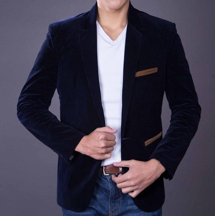 Meeste Slim Fit Velvet Suit Tuxedo jope Mees Kevad Sügis Must - Meeste riided - Foto 4