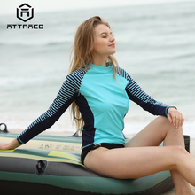 Attraco Rashguard 2019 Women Swimwear Long Sleeved Striped Rash Guards Patchwork Surfing Swimsuits For Running Top UPF50+