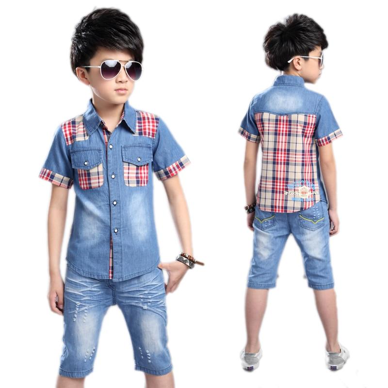 Children Clothing Boys Clothing Summer Boys Clothes Set Shirt +Denim Shorts 2pcs Kids Clothes Set Big Boys Casual Suit Plaid