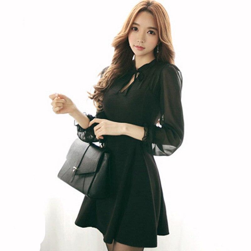 2017 New Arrival Cute A Line Black Bow Mini Plus Size Xxxl 4xl Dress