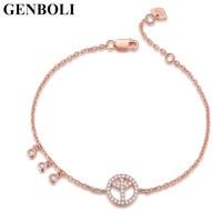 Peace Sign Bracelets Link Rose Gold Color Personality Bracelet Elegant Fashion Jewelry Cubic Zircon Stones Sterling
