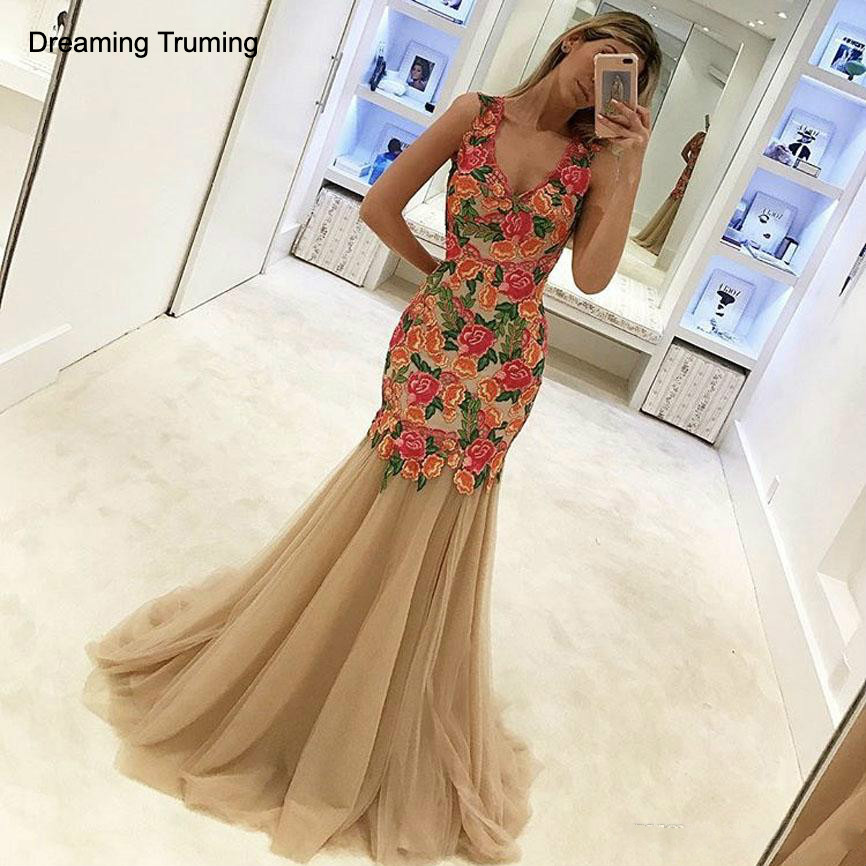 Champagne Prom Dresses With Plunging V Neck Sleeveless Appliqued Colorful Flowers Floor Length Mermaid Evening Dresses 2019