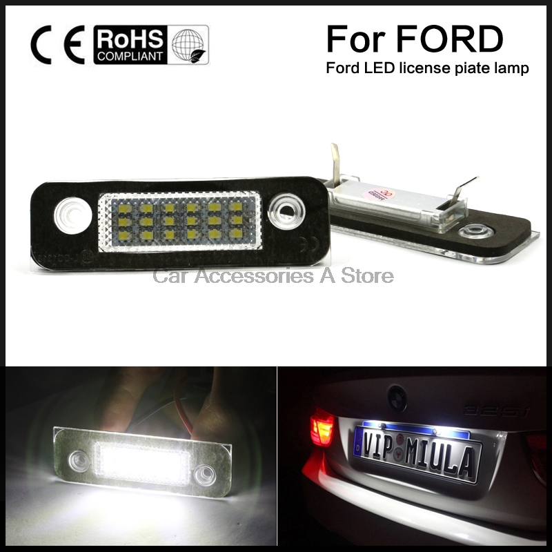 2pcs White License Plate Light Lamps For Ford Fusion Fiesta Mondeo (Fits: Ford Fiesta)