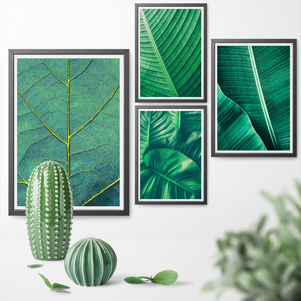 Painting Print Poster Green Art-Decoration Leaf Canvas Plant Nordic Modern