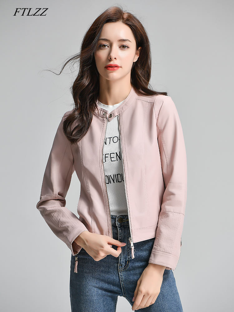 FTLZZ Women Faux Leather Jacket Simple Street Outwear PU Leather Biker Coat Round Neck Pink Bomber Jacket Motorcycle Female Coat